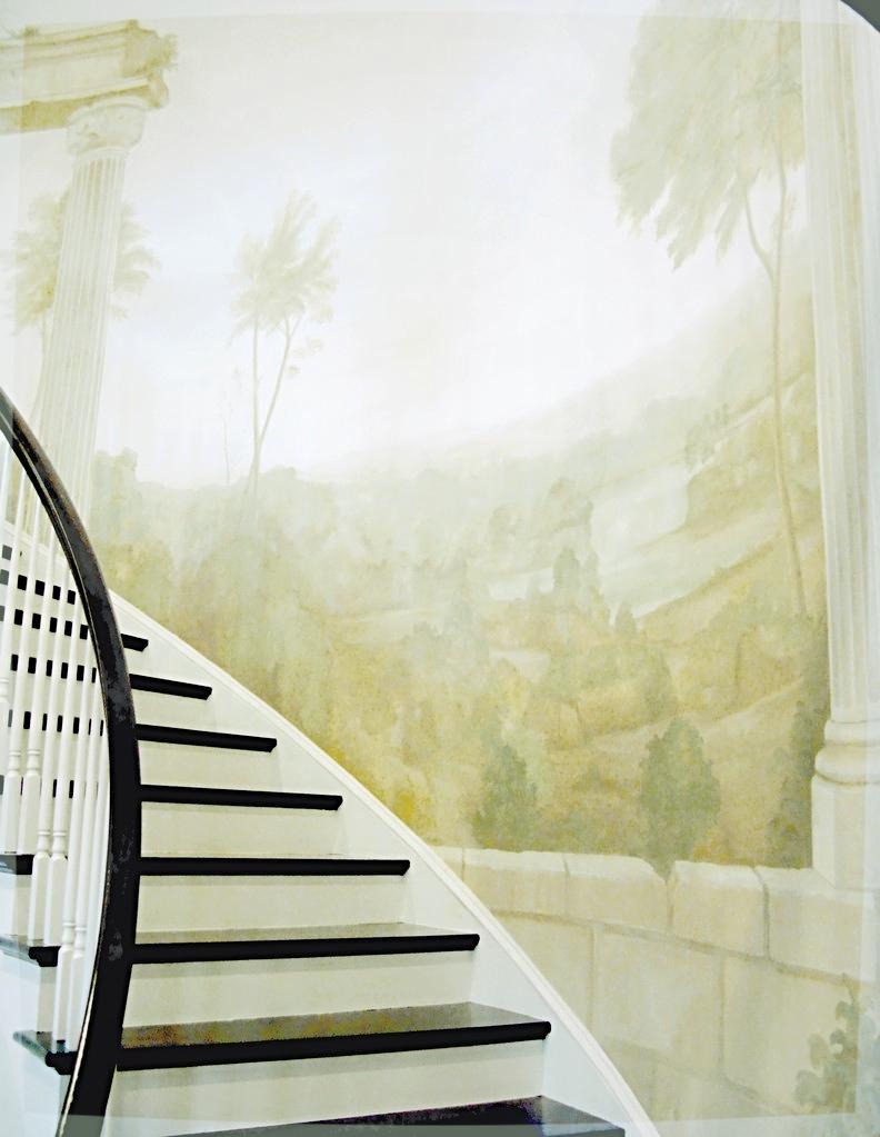 Foyer fresco style landscape mural