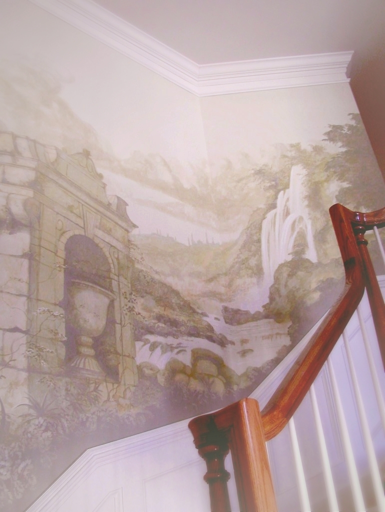 Foyer grisaille mural.