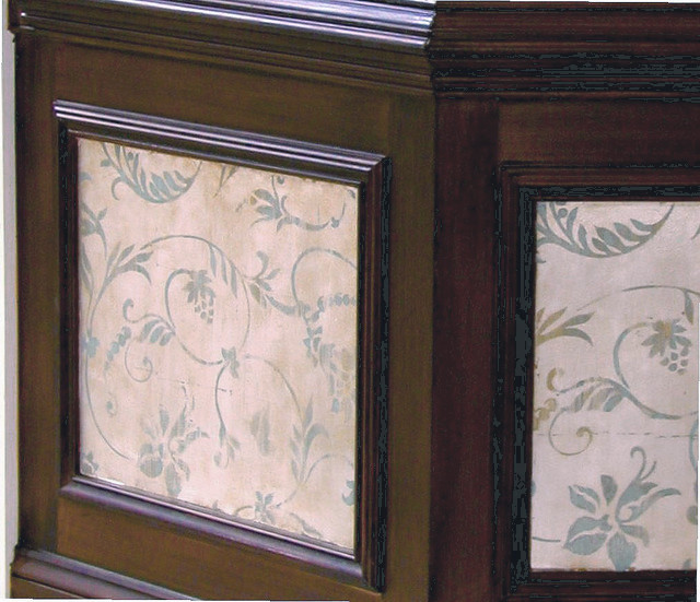 Painted Faux silk fabric inlay w/ faux wood panels.