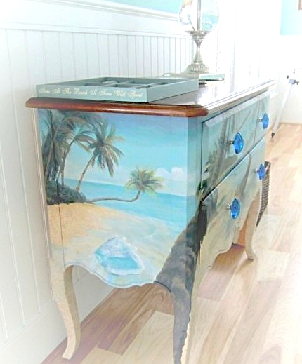 Hand painted ocean chest.