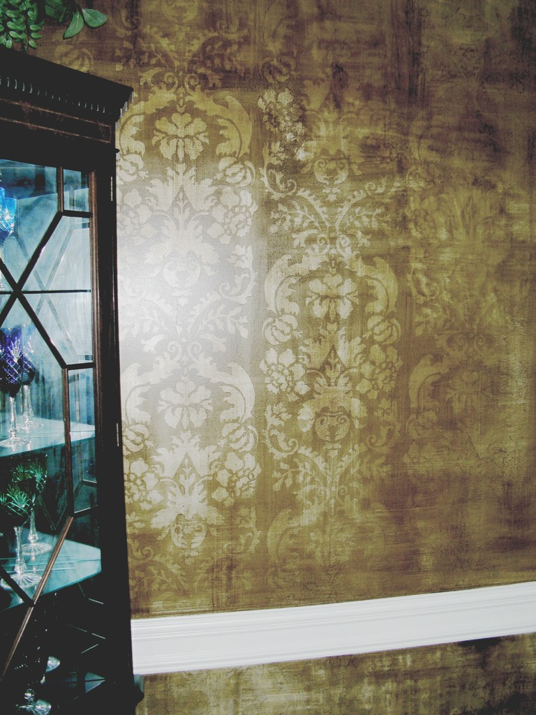 Old world  painted stencil damask .