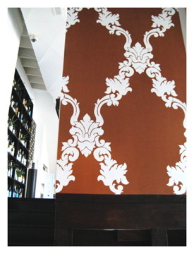 large damask on copper metallic in restaurant.