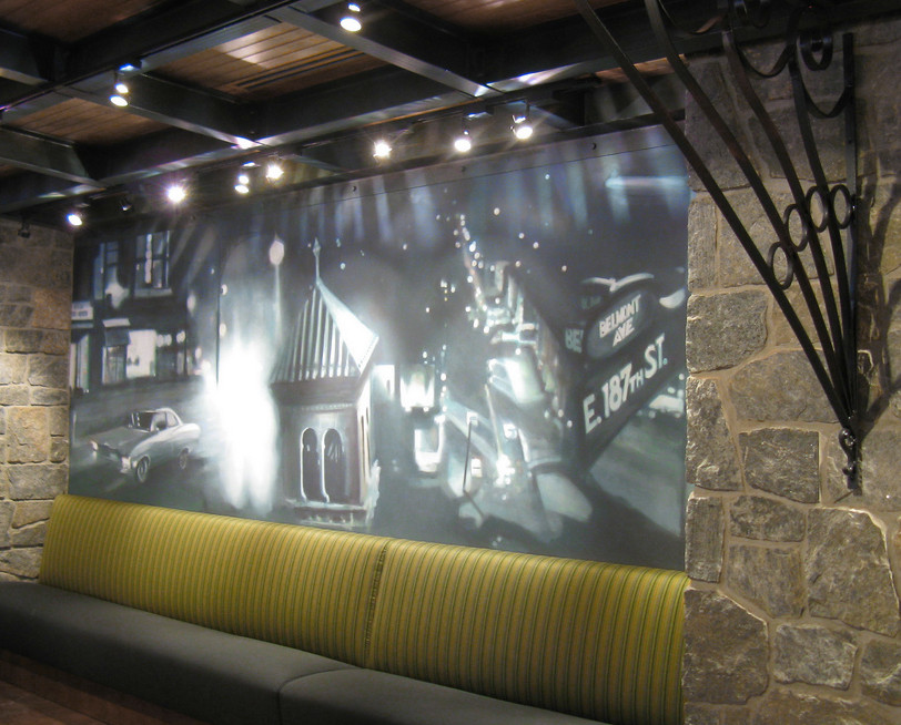 Black & white tonal mural inspired by a bronx tale in Chazz restaurant.