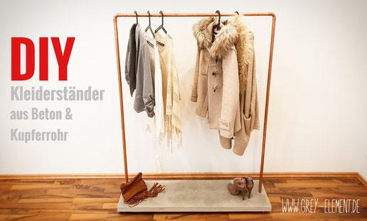 DIY Kleiderständer aus Beton und Kupferrohr