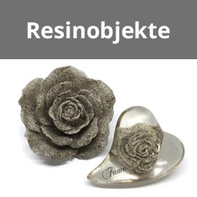 Resinobjekte, Ascheaufsteller, Rose aus Asche
