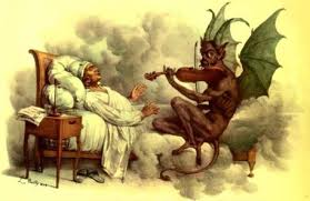 Guiseppe Tartini alité avec face à lui, assis sur son lit, le Diable avec de grandes ailes vertes en train de jouer du violon