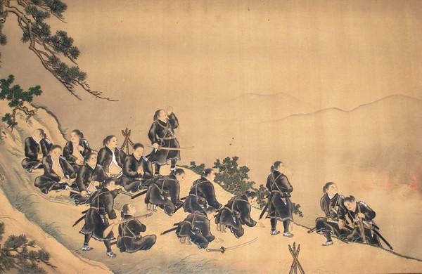 「白虎隊自刃之図」 飯盛山の山腹で自ら命を絶っていった白虎隊士たち。 この絵は蘇生した飯沼貞吉が絵師・梅里に描かせたもの。(飯沼一元氏提供)