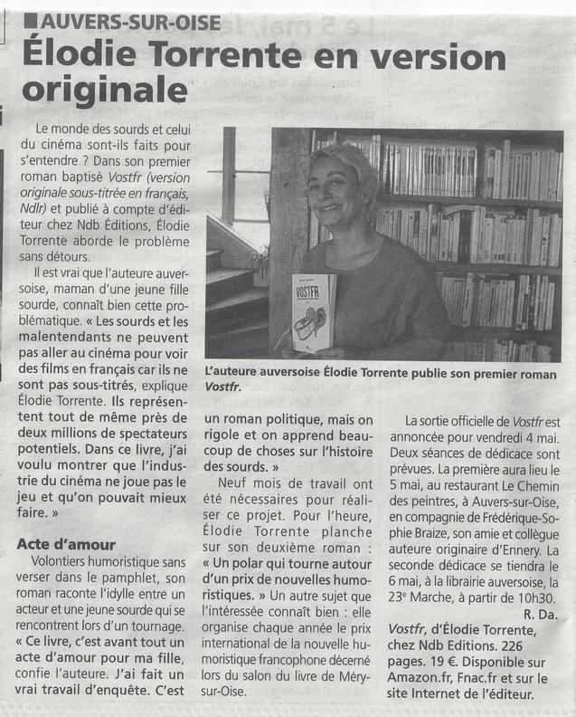A propos de VOSTFR, roman d'Elodie Torrente - Article de Romain DAMERON - Gazette du Val d'Oise, 2 mai 2018