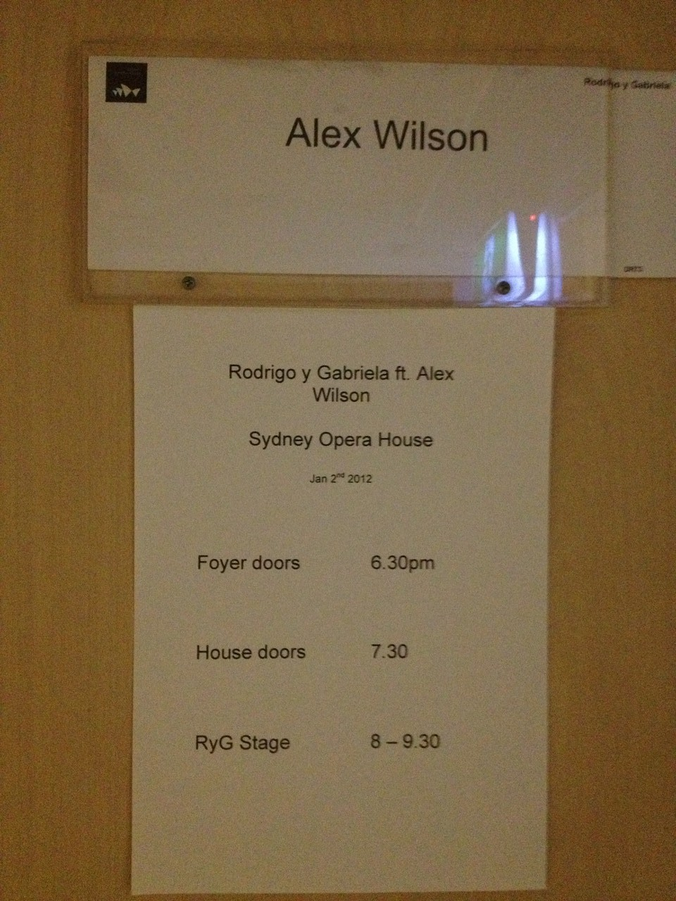 Into the dressing room ... — at Sydney Opera House.