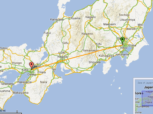 The 3 and a half hour train journey from Tokyo to Osaka ...great! — in Japan.