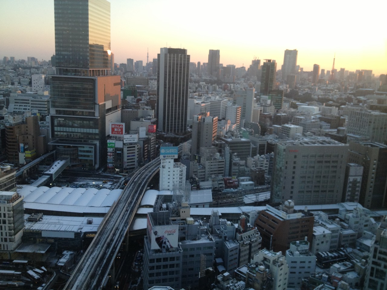 The view of snow covered Tokyo from my room ... this is where I will be hibernating now until leaving the city ... — in Shibuya-ku, Tokyo.