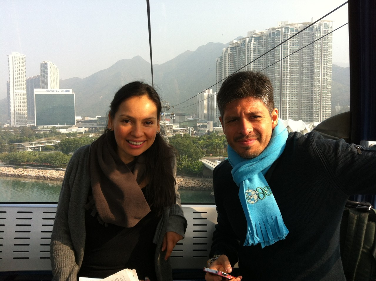Nice to see Rodrigo y Gabriela relaxing - they are such lovely people and I will miss working with them after this tour ... — at Ngong Ping Cable Car.