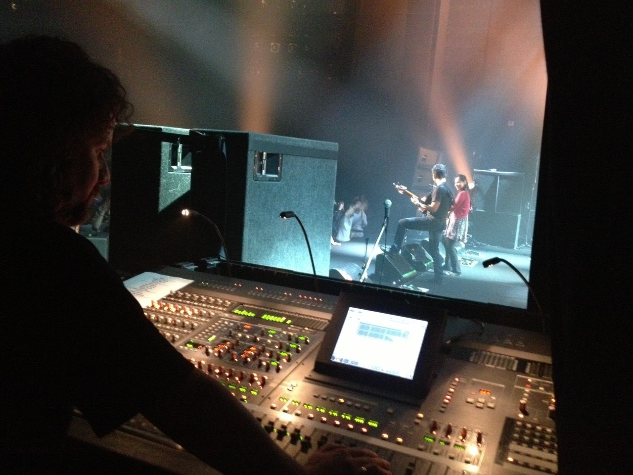 This is Mike's view of the show from the monitor desk ... — with Mike Sound at Breeze Breeze.