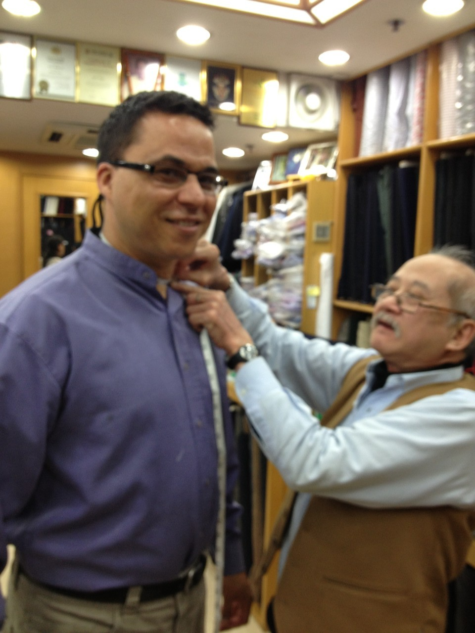 "I visit the fabled ""Sam's Tailors"" to get some show shirts made up ... — at Sam's Tailor."