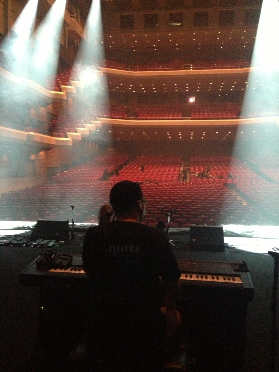 I check my piano and Kris checks his lights ... — at Orchard Hall Shibuya.