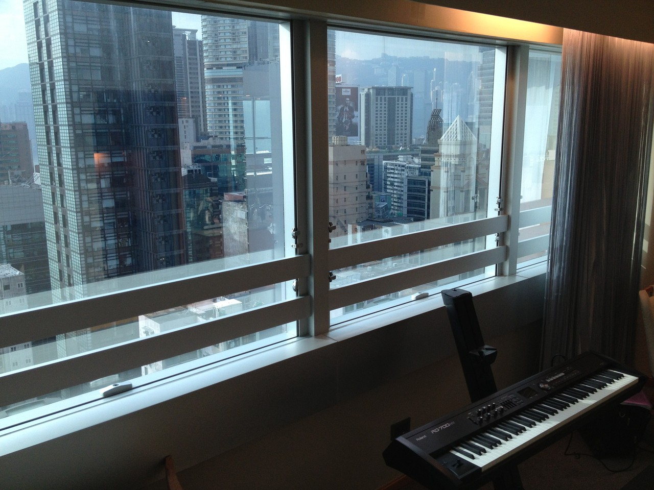 Great view from the hotel room and I've rented a piano so I can work on arrangements .. — at Kowloon.