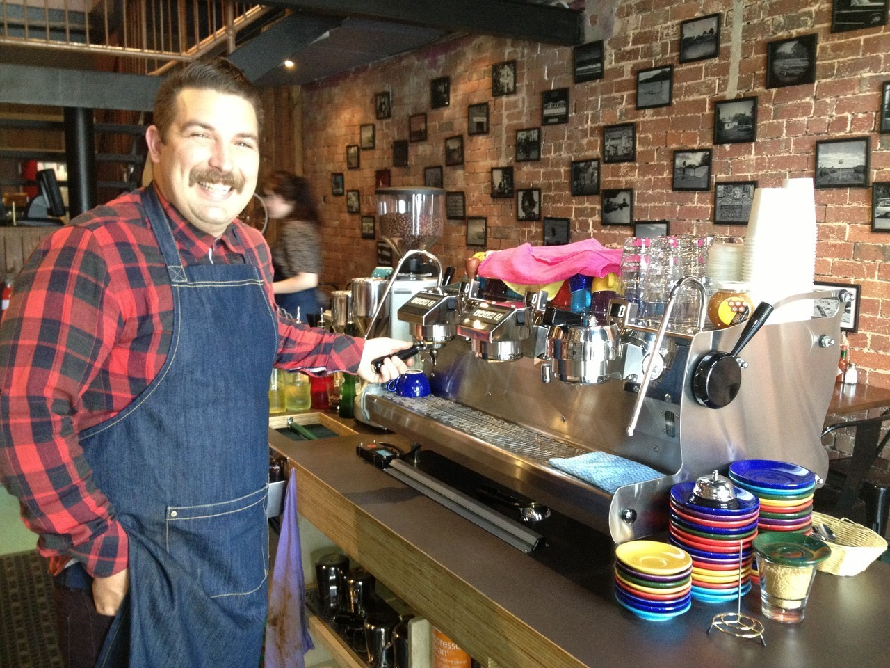 Nipped out for a coffee at a new place called Neanderthal - just opened. The owner Dax (pictured) has fulfilled his dream by buying a $20K coffee machine … and what a machine it is! Powered by car-engined power motors, reservoirs, the lot. I'll be back he