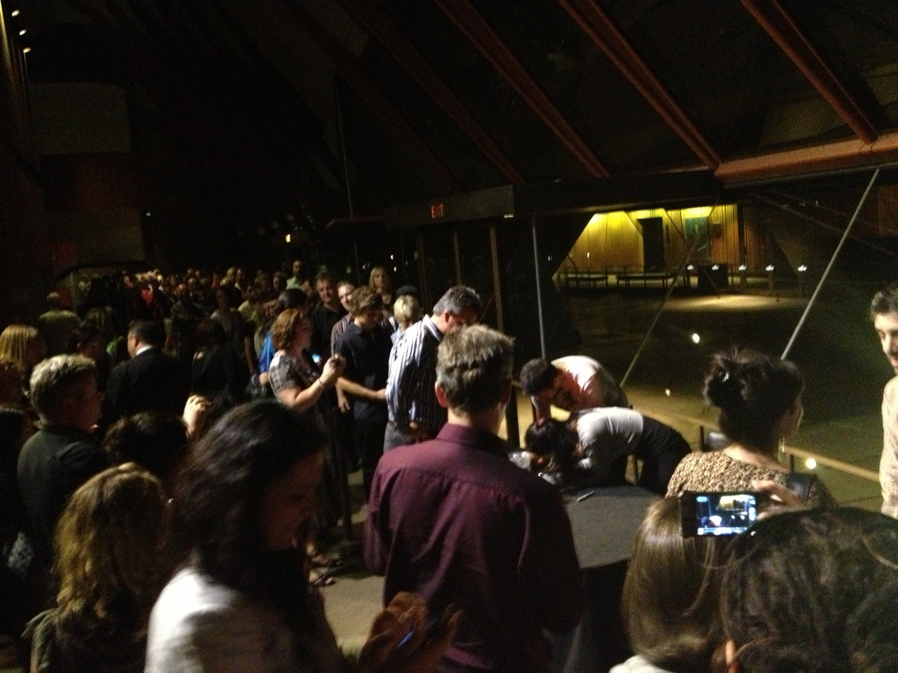 Huge queue for Rodrigo y Gabriela CD signing — at Sydney Opera House.