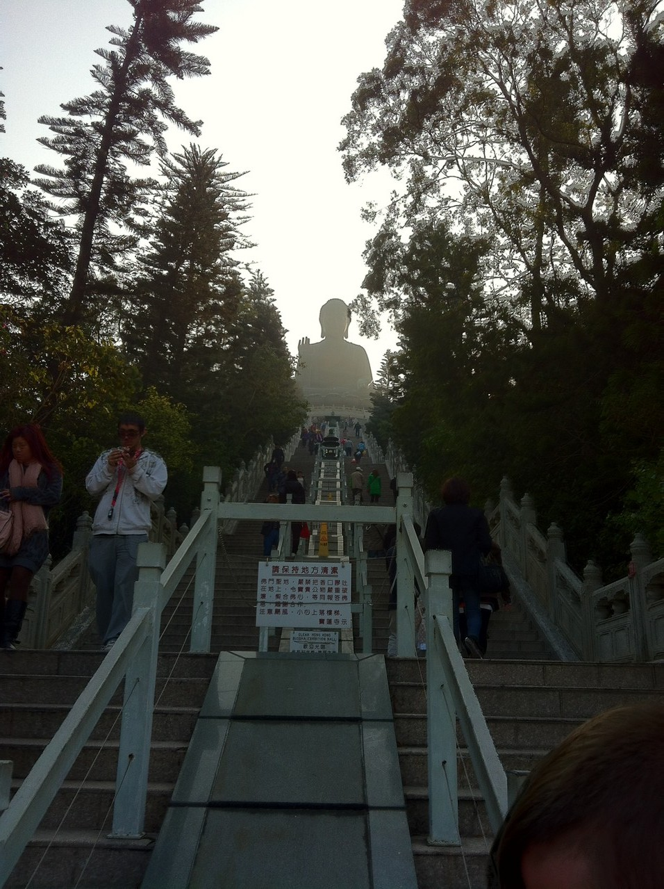 Steps up to the Buddha — in Ngong Ping, Hong Kong.