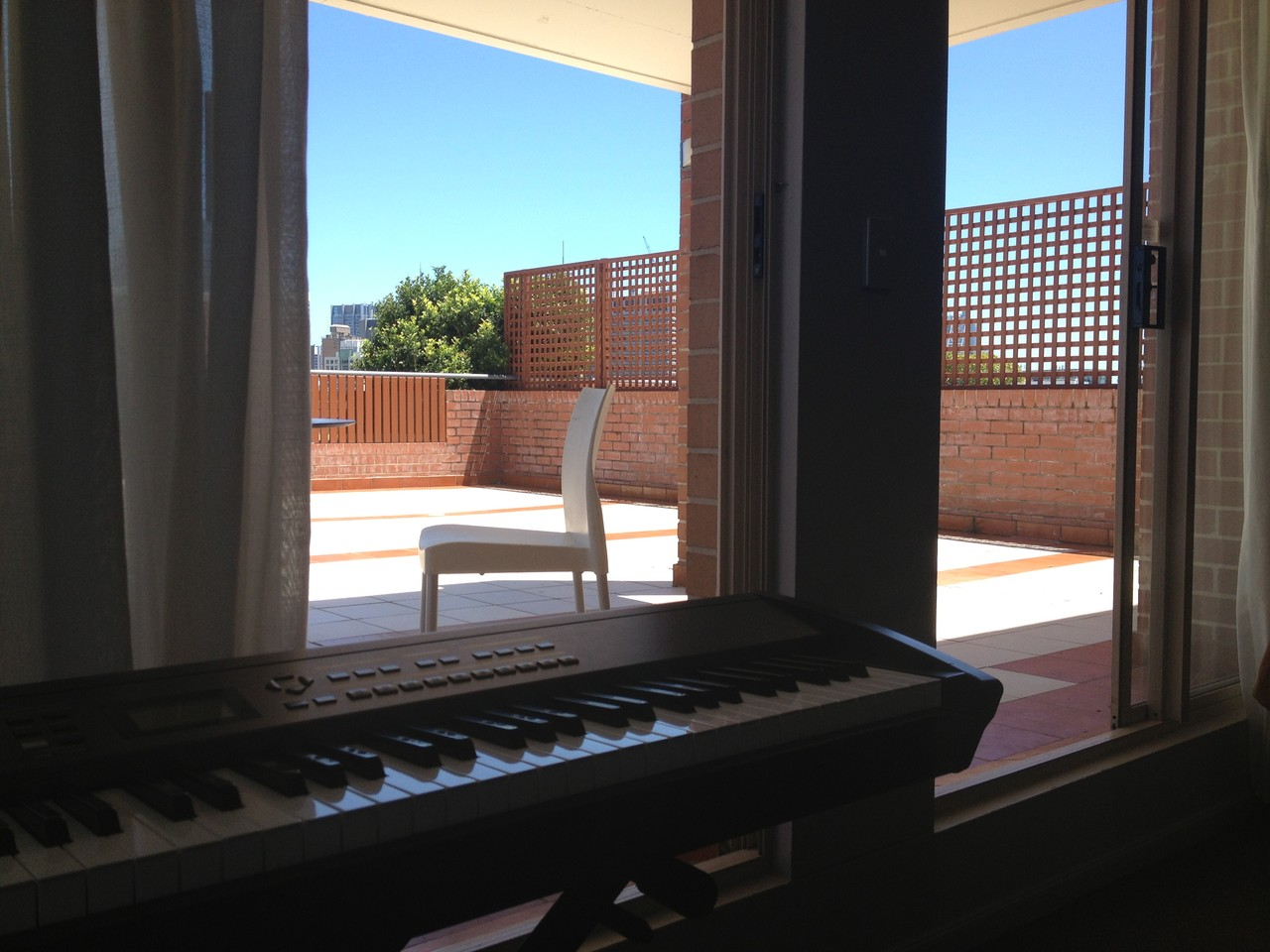 Happily arranging away on the keyboard when I made the unfortunate mistake of glancing on to the next balcony … two men romping around naked !!!!! — at Sydney.