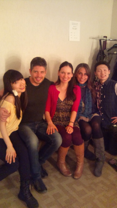 Some great salsa dancers came to see the show and greet us back stage afterwards ... — with Mai Tanikawa, Adriana Sanchez Zoletto and Kazuma Takahatake.
