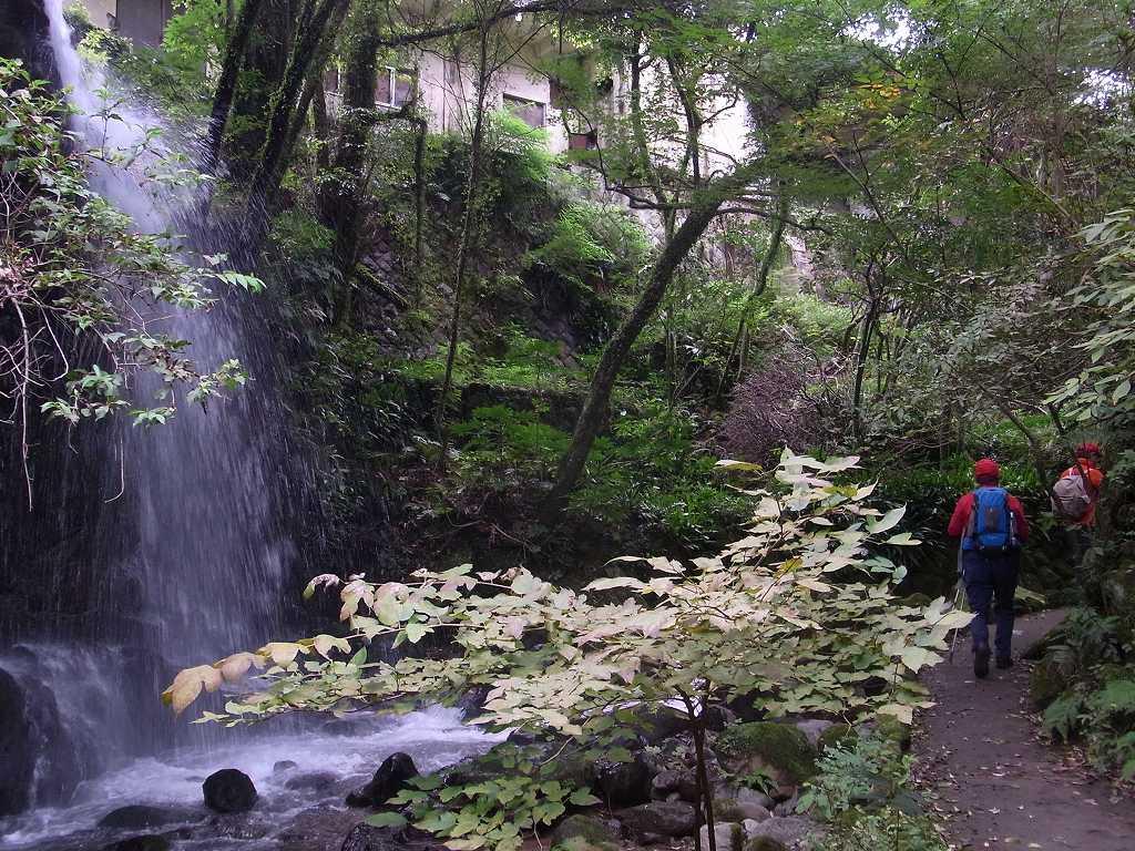 観光会館から万葉公園へ 途中滝の前をウォーキング