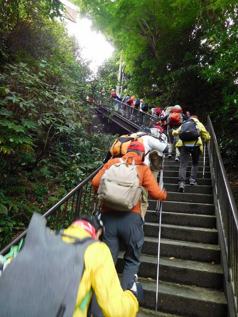 万葉公園をスタート直後の階段 結構 急な階段です