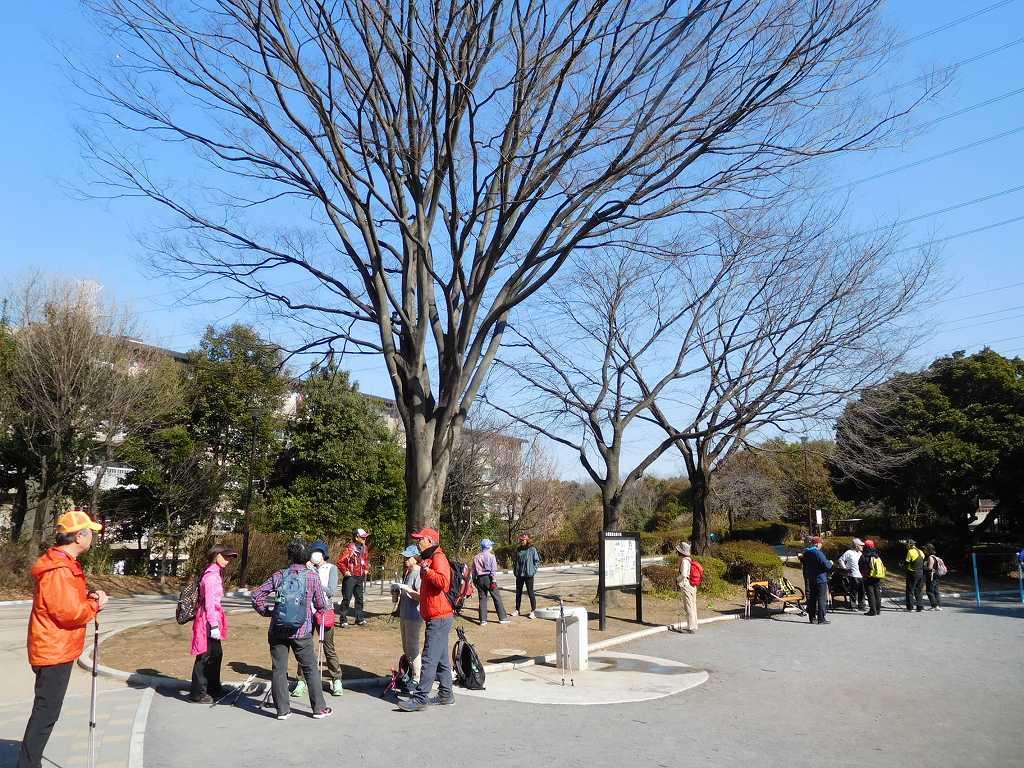 鴨池公園で休憩 小グループで盛り上がっています