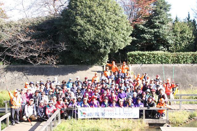 多摩川台公園 散策路で集合写真 大勢で顔が分かりづらいですね