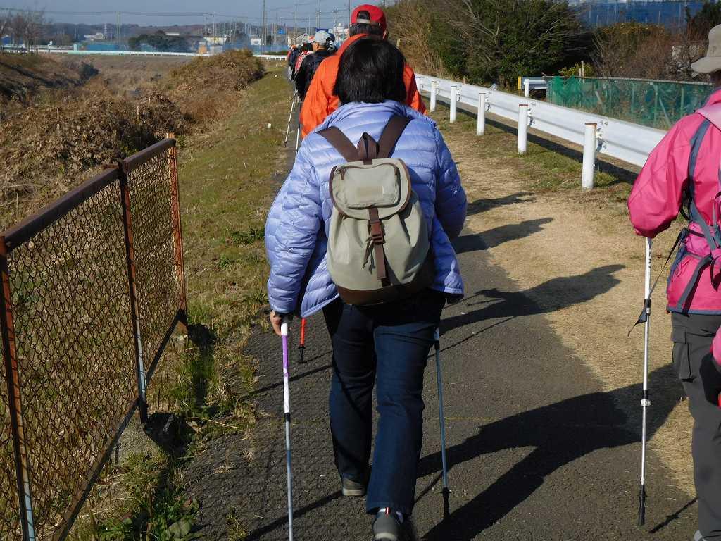 鶴見川上流に向かって歩く お一人さんはみ出てますよ、一列で歩きましょう