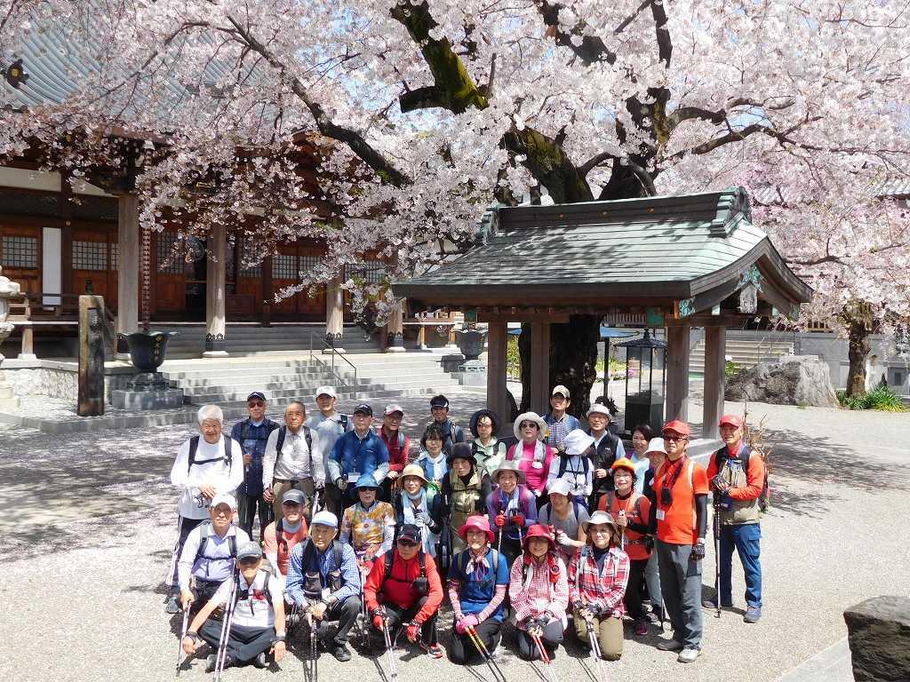 折角ですので桜をバックに集合写真をパチリ