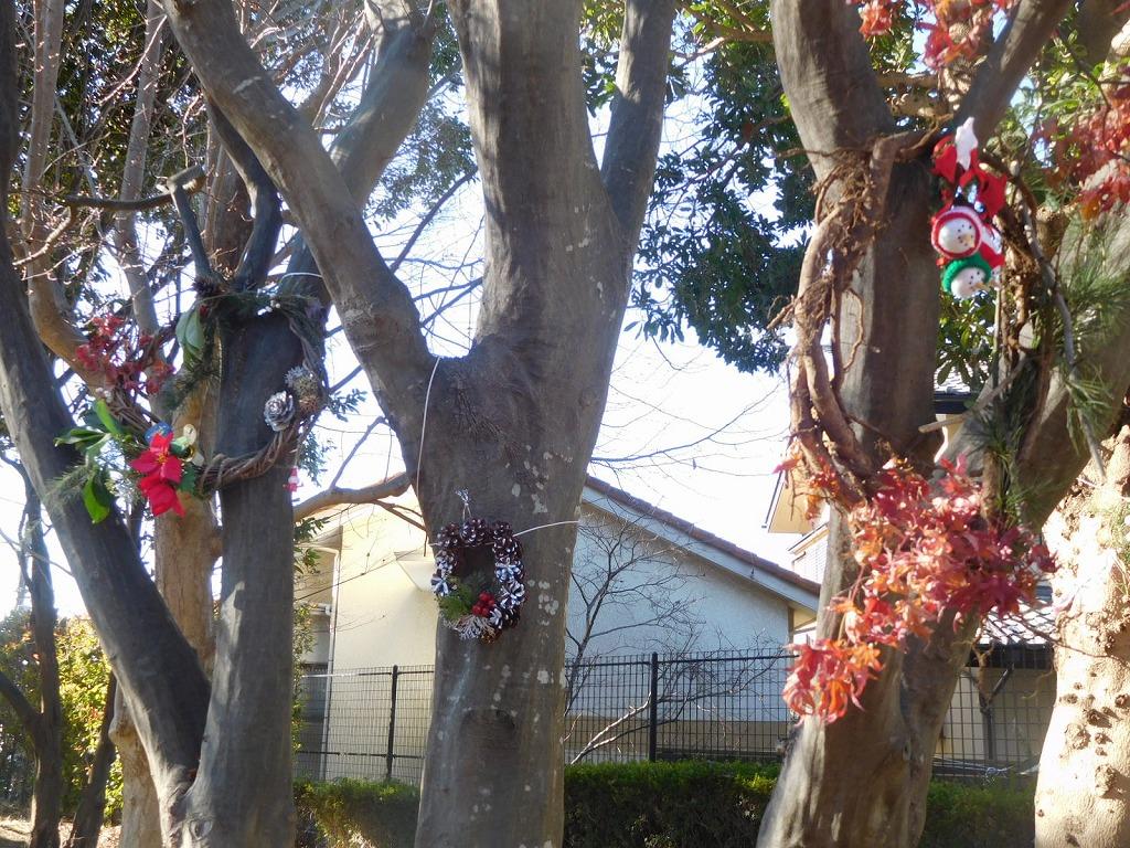 公園には手作りの「クリスマスリース」が飾られている