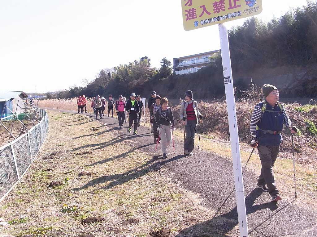 鶴見川沿いを歩く後尾の会員