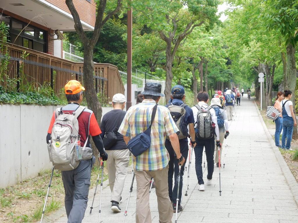 江田南使用学校・中学校の緑道を歩く
