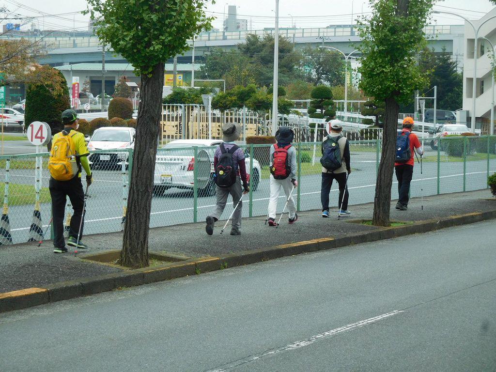 市ヶ尾町を歩く 先頭集団はキチンと一列で歩いてますが・・・・・・