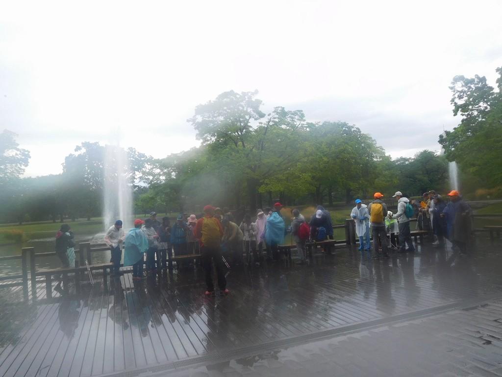 水景施設の噴水池に到着