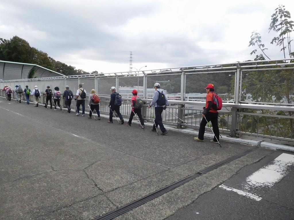 東名高速道路上の架橋を車に注意して一列で歩く