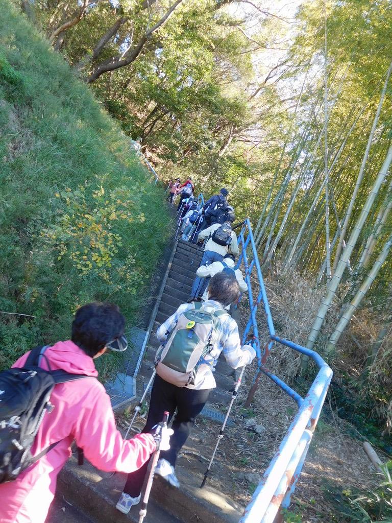 稲荷前古墳群への少し長い階段を登ります