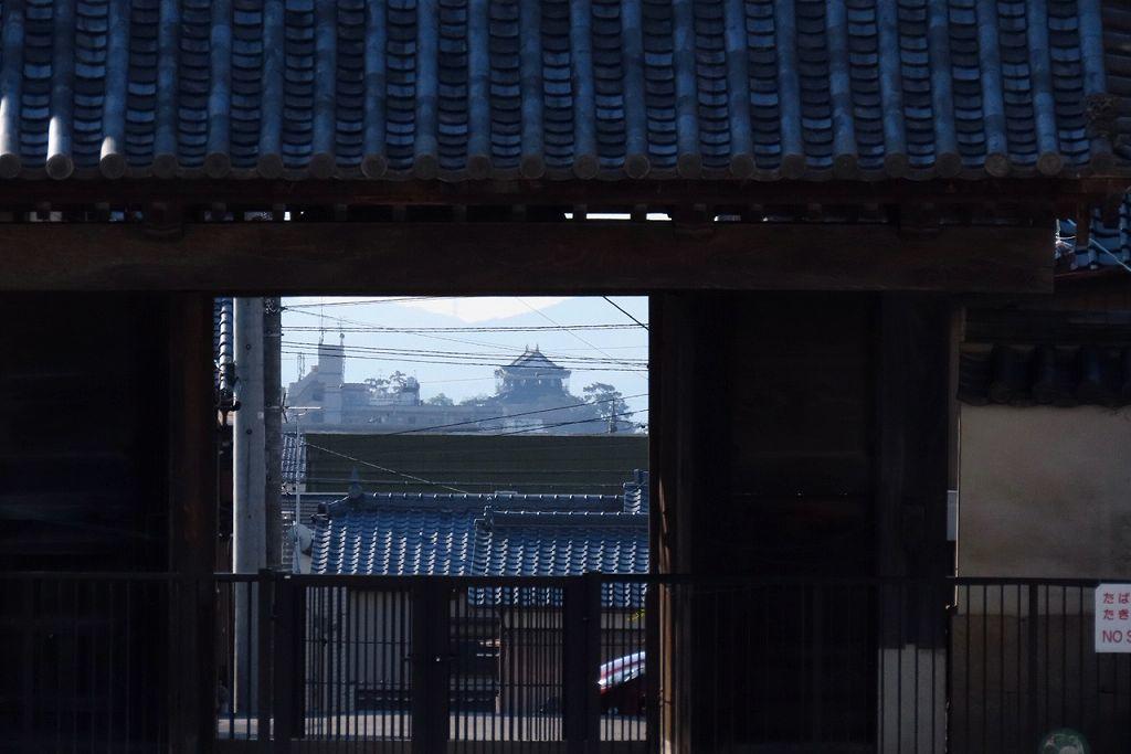 神社から奥に岡崎城が見える