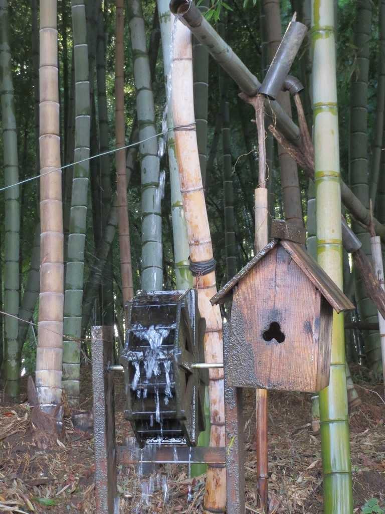 竹林には手作り水車が!!