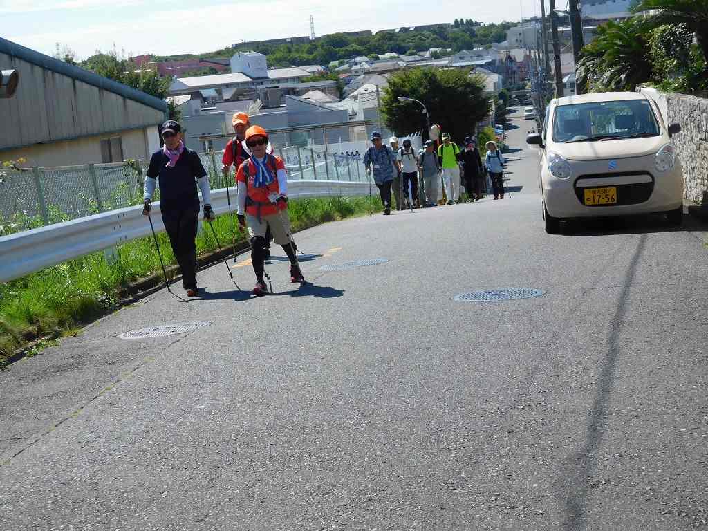 荏田高校横の坂道をウォーキング