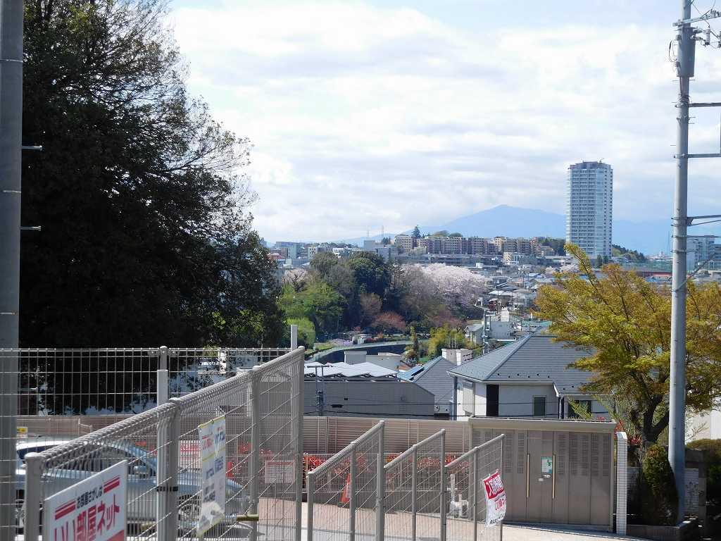途中 長津田の町が見えてきました 桜も咲いてますね