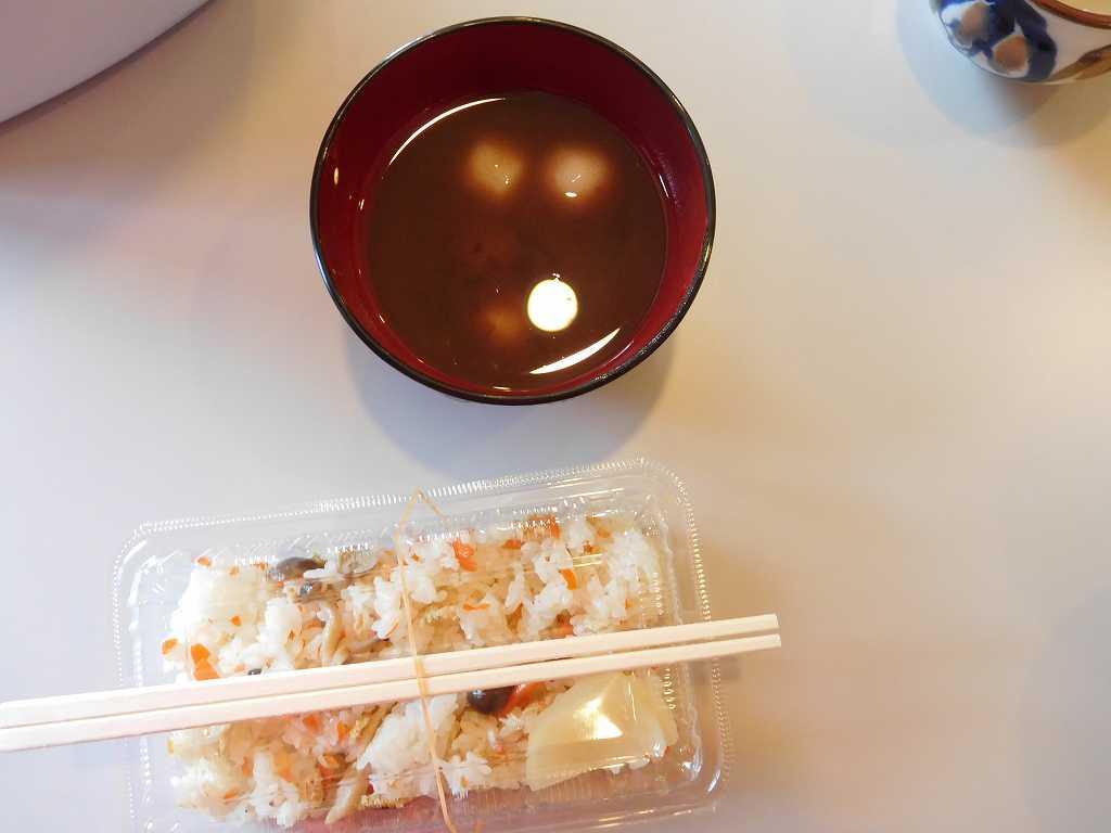 本日のお汁粉と炊き込みご飯