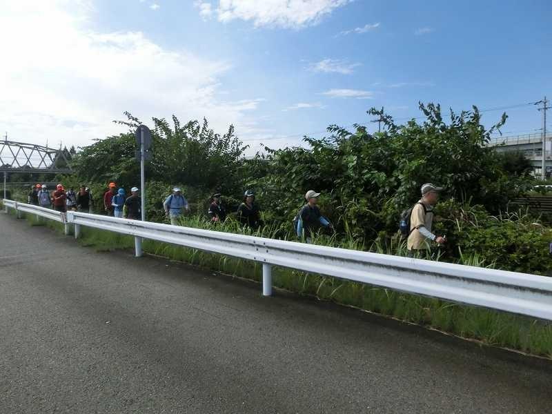 鶴見川沿いを一列でスタート