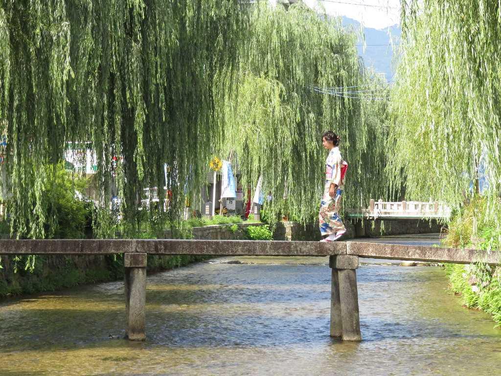 白川「阿闍梨アジャリ橋(一本橋)」を渡る着物美人