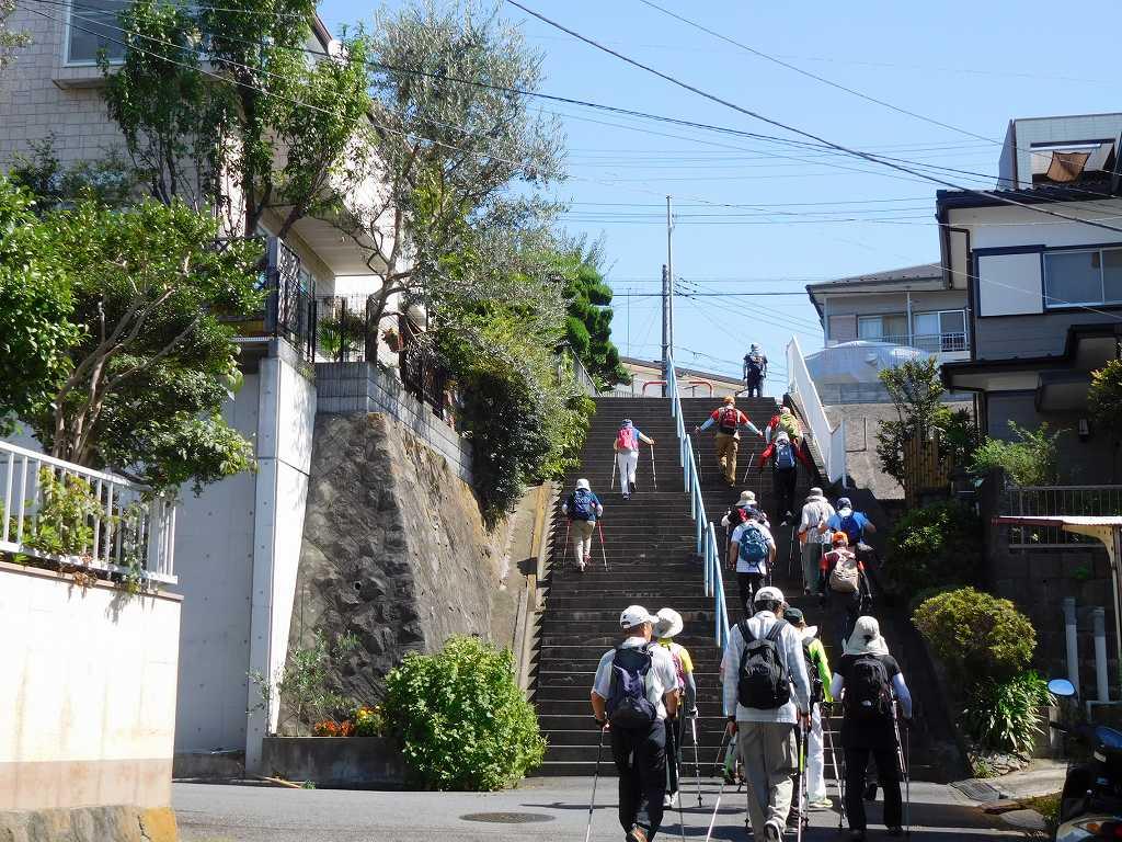 急な階段もなんのその 元気で登る皆さんです