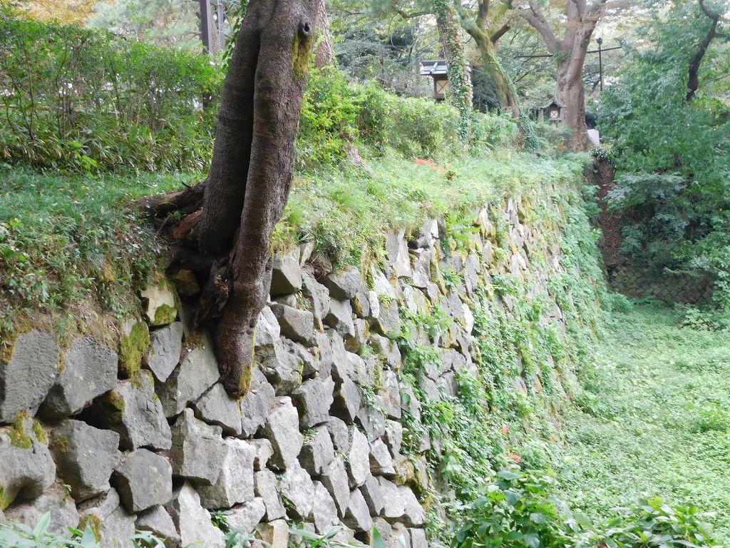 水堀が現存する高岡城の堀と石垣