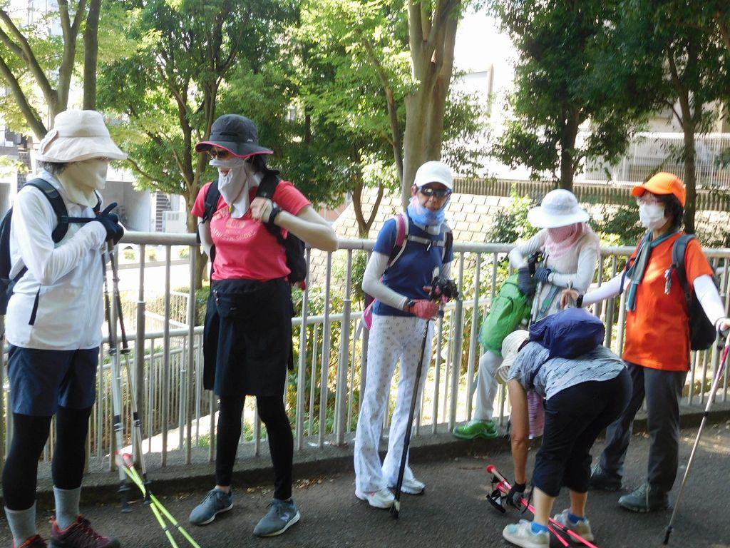 折田不動公園下で水分補給