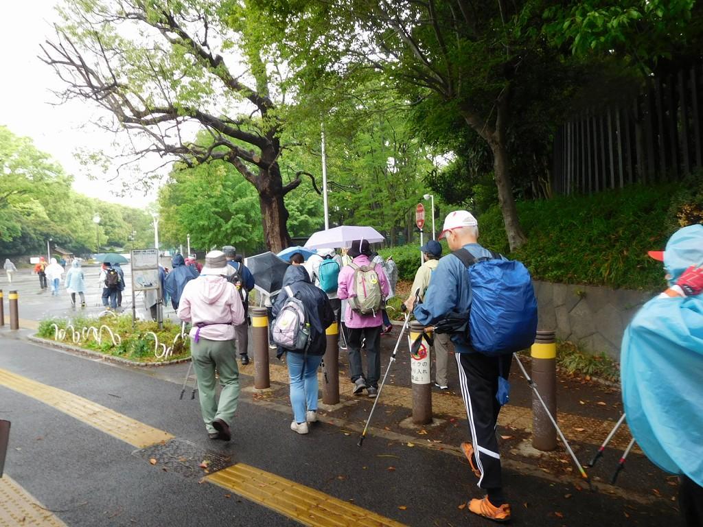 雨の中、原宿駅から代々木公園へ移動