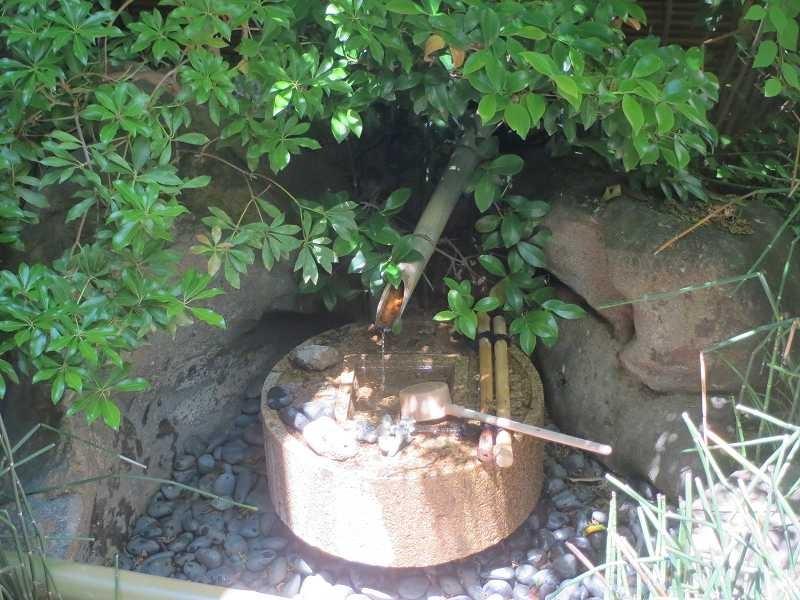 福泉寺の庭にある水琴窟で澄み切った音色を楽しみました